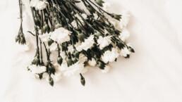 witte bloemen overlijden